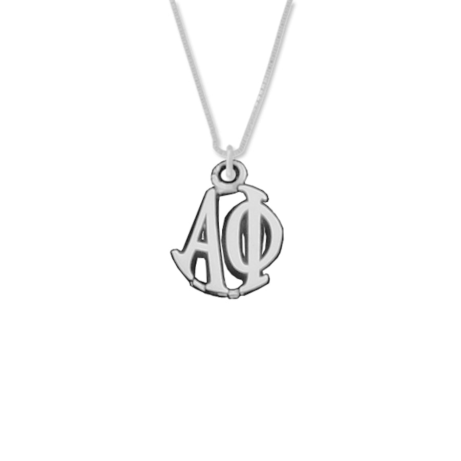 Alpha Phi Charm Sterling Silver Monogram Circle Drop. Chains available.