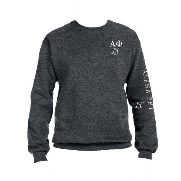 Alpha Phi Little Crew Sweatshirt with Greek Letters and Sorority Name Down Arm