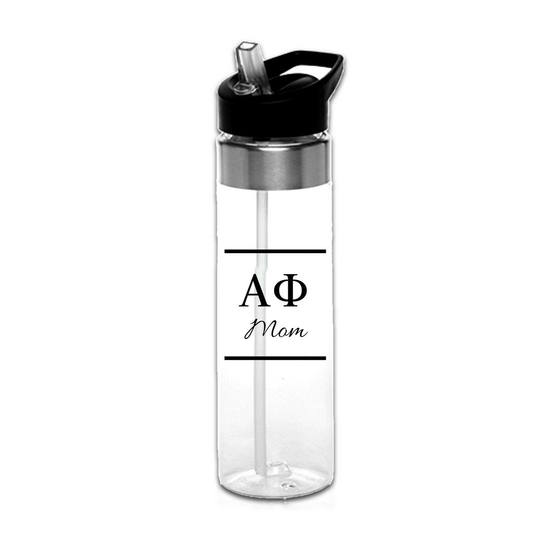 Alpha Phi Water Bottles with Greek Letters in black or gold with optional personalization. Super cute sorority gift filled with jelly beans or their favorite candy. Features screw off lid so fill it to the top with ice!