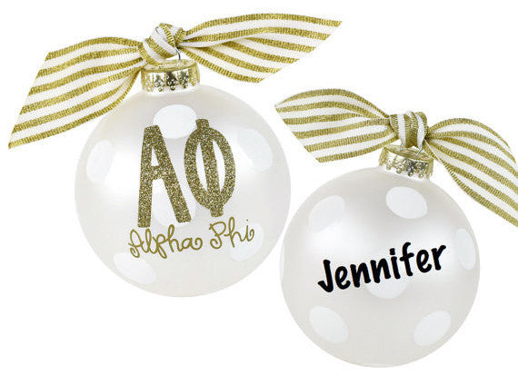 Alpha Phi Ornament, collectible gold greek letters