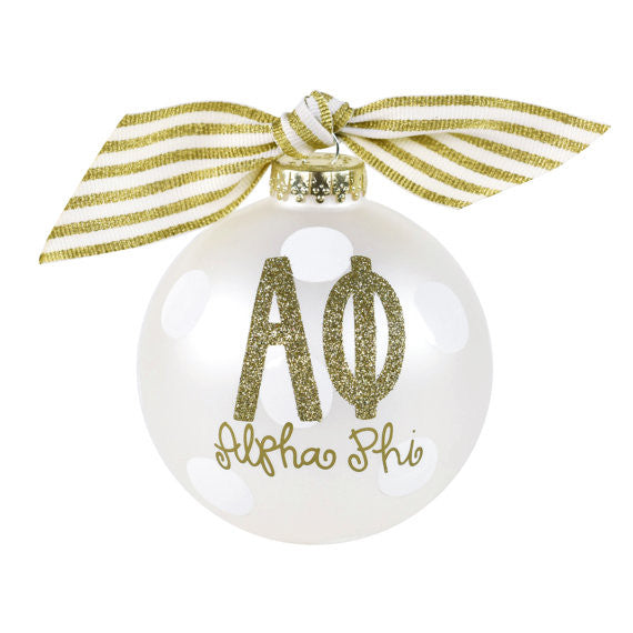 Alpha Phi Ornament . Gold Glitter . Optional Personalization