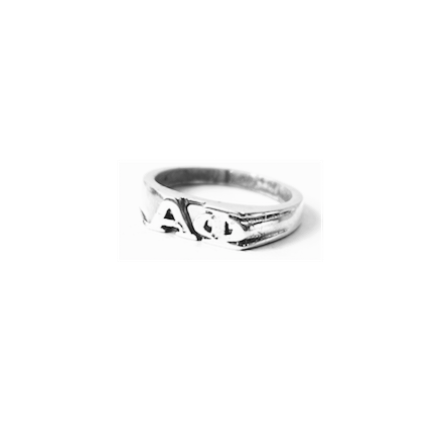 Alpha Phi Ring . Block Greek Letters . Sterling Silver