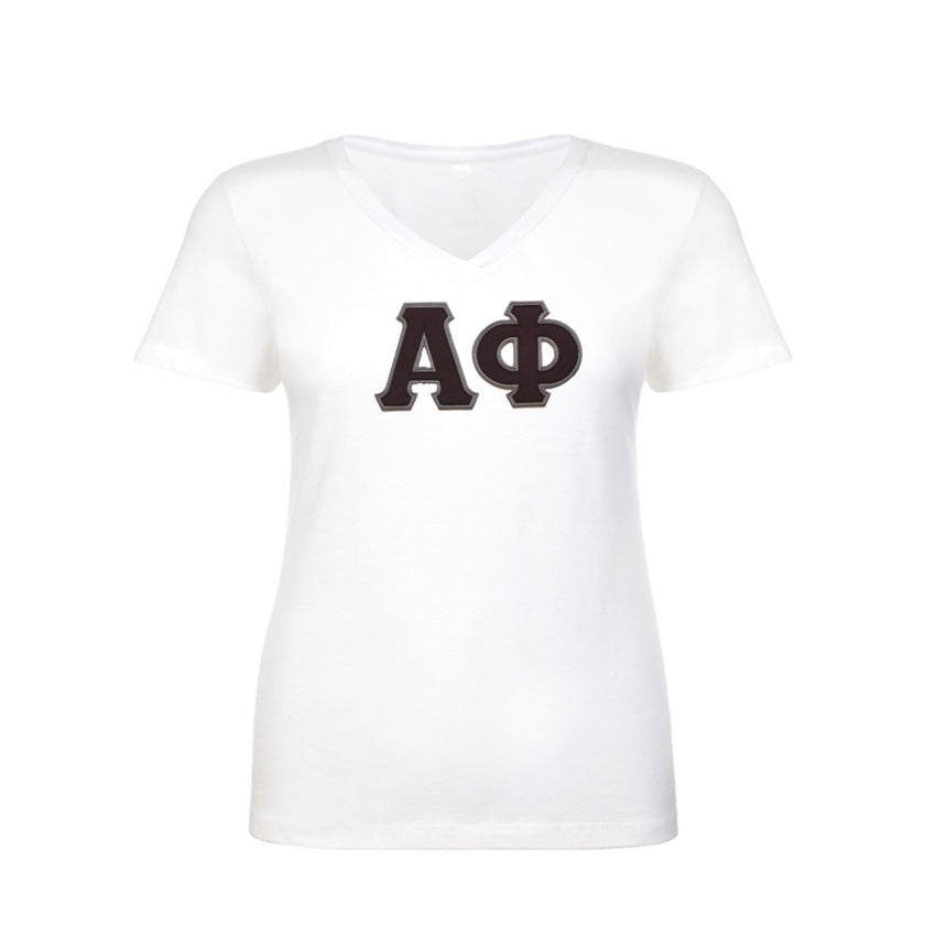 Alpha Phi Shirt . V-neck . Stitched Greek Letters . Two Layer