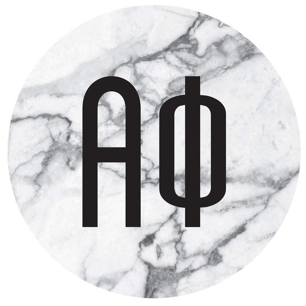Alpha Phi Marble round sticker and decal. Cute as a bumper sticker, on a notebook, on a laptop, on a window. Affordable alumnae and big little gifts.