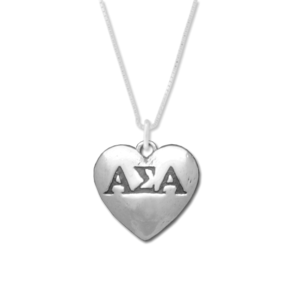 Alpha Sigma Alpha charm in sterling silver for a beautiful sorority necklace.