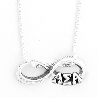 Alpha Sigma Alpha infinity charm in sterling silver with Greek letters.