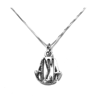 Alpha Sigma Alpha Charm Sterling Silver Monogram Circle Drop. Chains available.