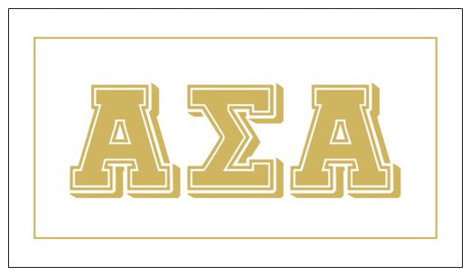 Alpha Sigma Alpha Gift Card . Metallic Gold