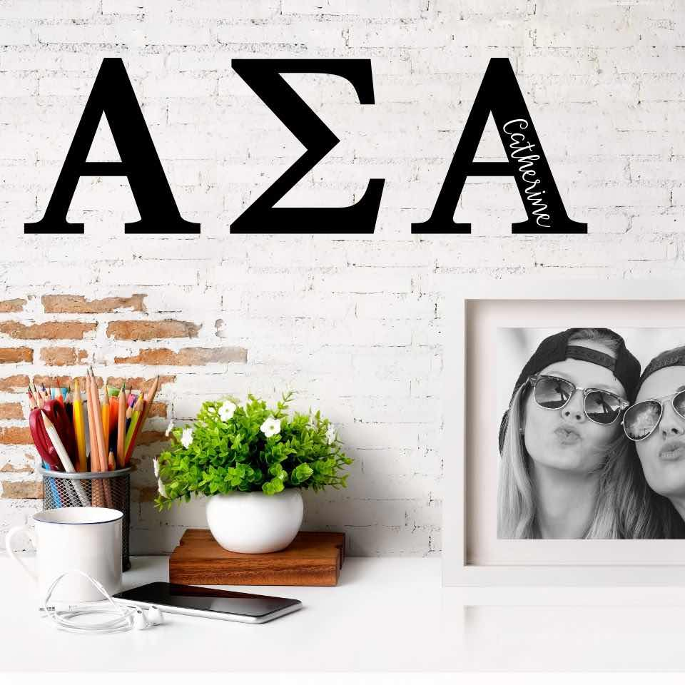 Alpha Sigma Alpha Greek Letters Ready to Hang I 7 inches I Personalize