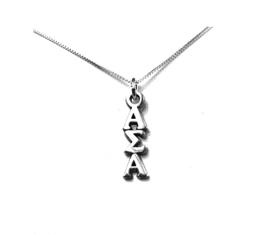 Alpha Sigma Alpha Lavaliers sterling silver. Add a 16 in, 18 in, or 20 in sterling silver box chain. Is it a gift? Let us ship for you in a gift box tied with ribbon and a handwritten gift card.