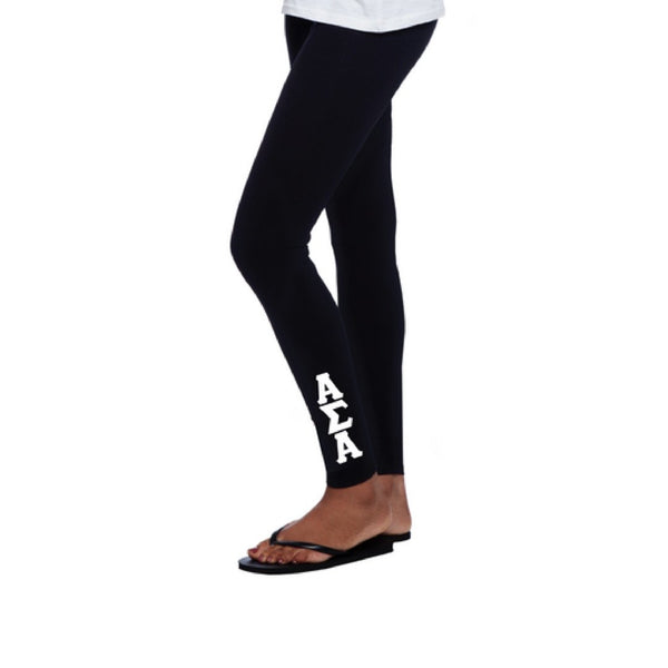Alpha Sigma Alpha Leggings with stitched greek letters completes this trendy, college perfect look.