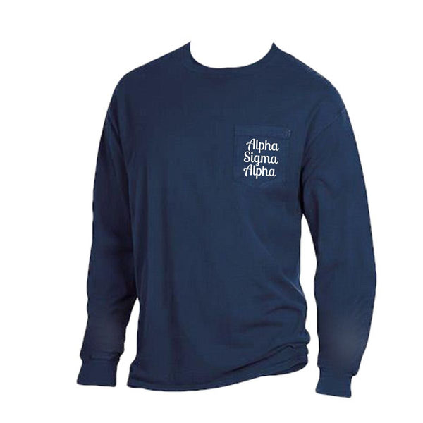 Navy blue Alpha Sigma Alpha Long Sleeve Shirt with Greek Words on Pocket in cute retro style.