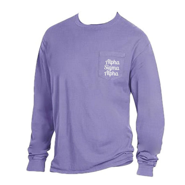 Purple Alpha Sigma Alpha Long Sleeve Shirt with Greek Words on Pocket in cute retro style.