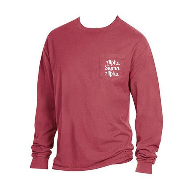 Red Alpha Sigma Alpha Long Sleeve Shirt with Greek Words on Pocket in cute retro style.