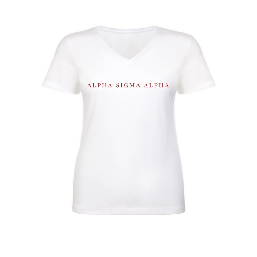Alpha Sigma Alpha White v-neck t-shirt with sorority name across chest in block style lettering.