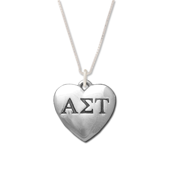 Alpha Sigma Tau charm in sterling silver for a beautiful sorority necklace.