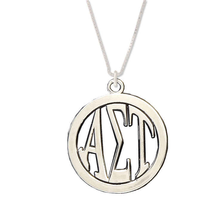 Black Bow Jewelry Sterling Silver Alpha Sigma Tau XS Pendant Necklace