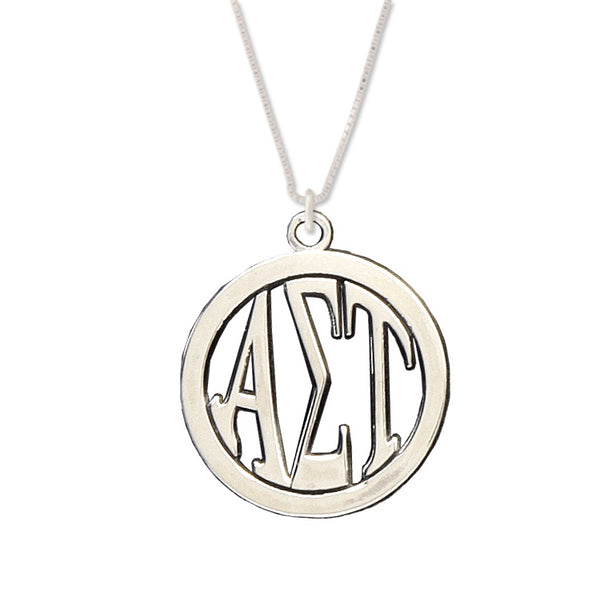 Alpha Sigma Tau Charm: Large Greek Monogram in Beautiful Sterling Silver