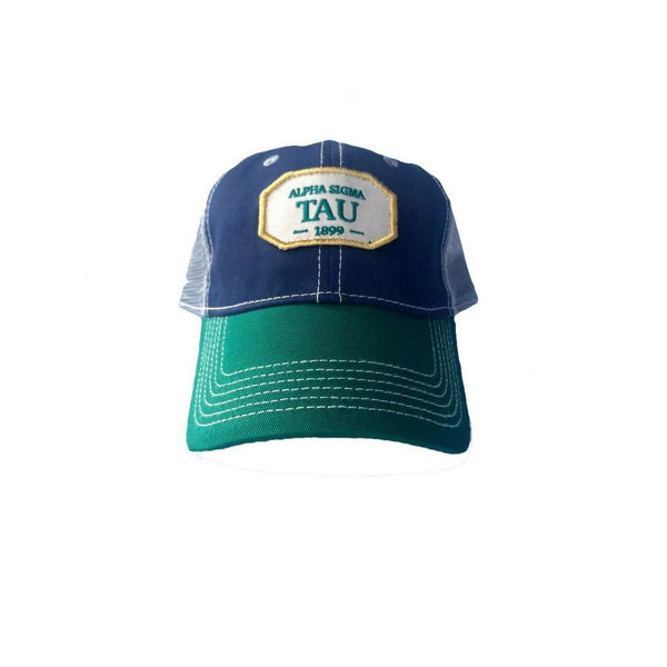 Alpha Sigma Tau hat with Greek words and Greek Letters. Fun colorful trucker style. Shop #AlphaSigmaTau Accessories. Perfect for bid day, big little, and more.