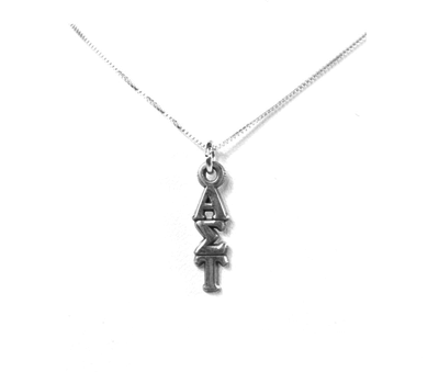 Alpha Sigma Tau Lavaliers sterling silver. Add a 16 in, 18 in, or 20 in sterling silver box chain. Is it a gift? Let us ship for you in a gift box tied with ribbon and a handwritten gift card.