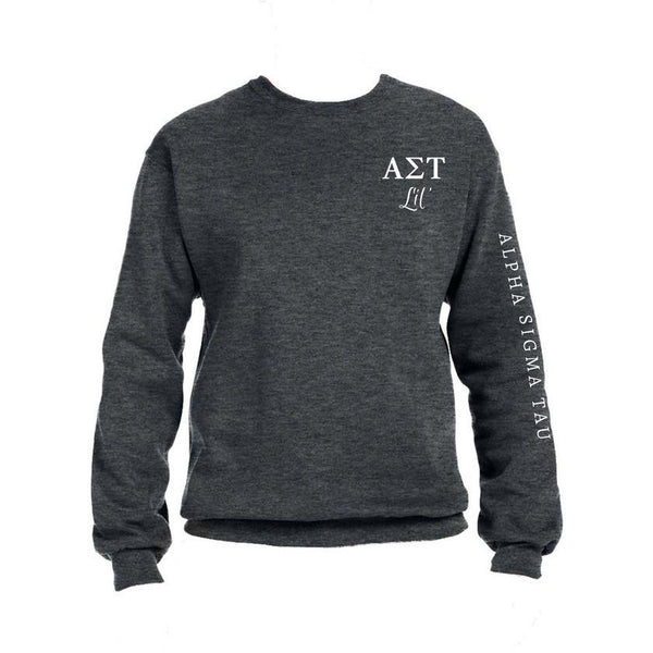 Alpha Sigma Tau Little Crew Sweatshirt with Greek Letters and Sorority Name Down Arm