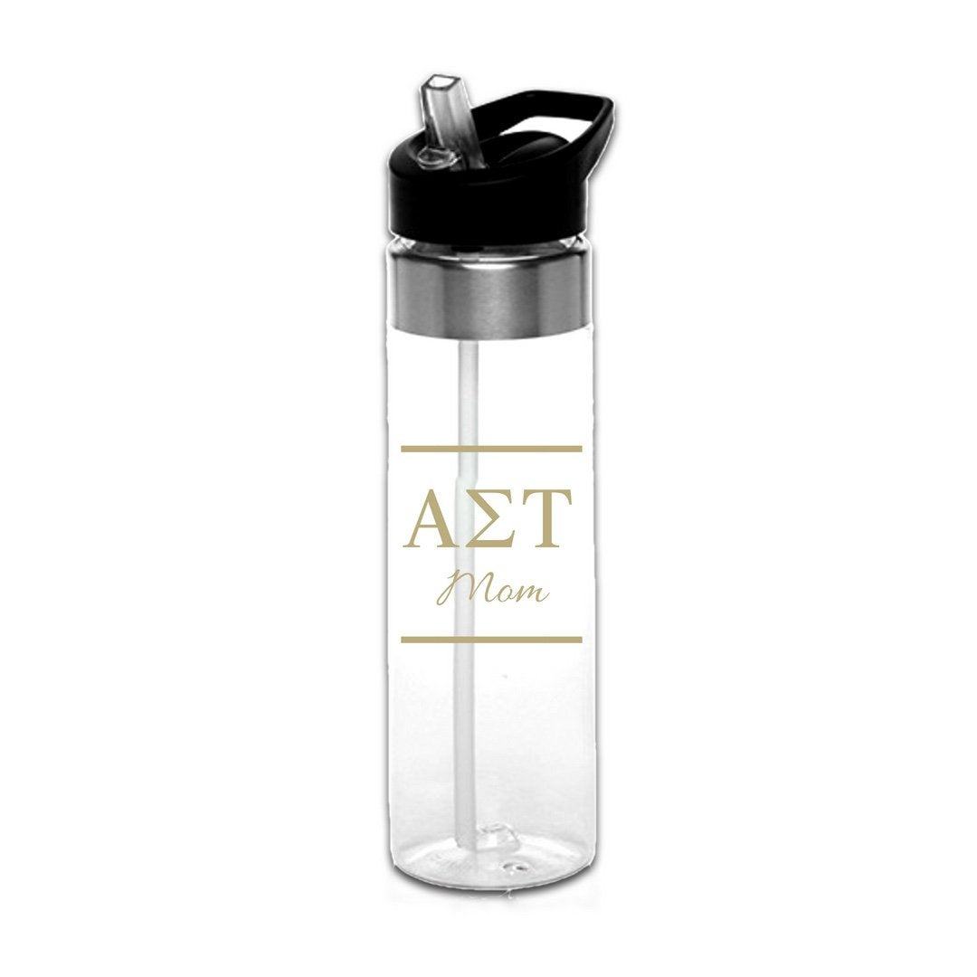 Alpha Sigma Tau Mom Water Bottle . Black or Gold