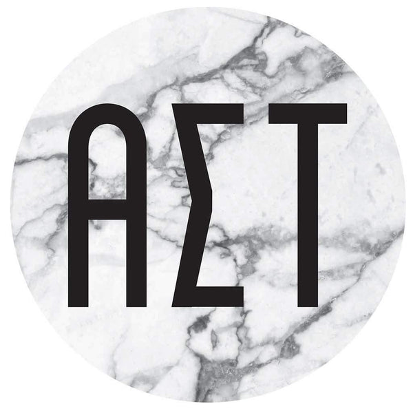 Alpha Sigma Tau Marble round sticker and decal. Cute as a bumper sticker, on a notebook, on a laptop, on a window. Affordable alumnae and big little gifts.