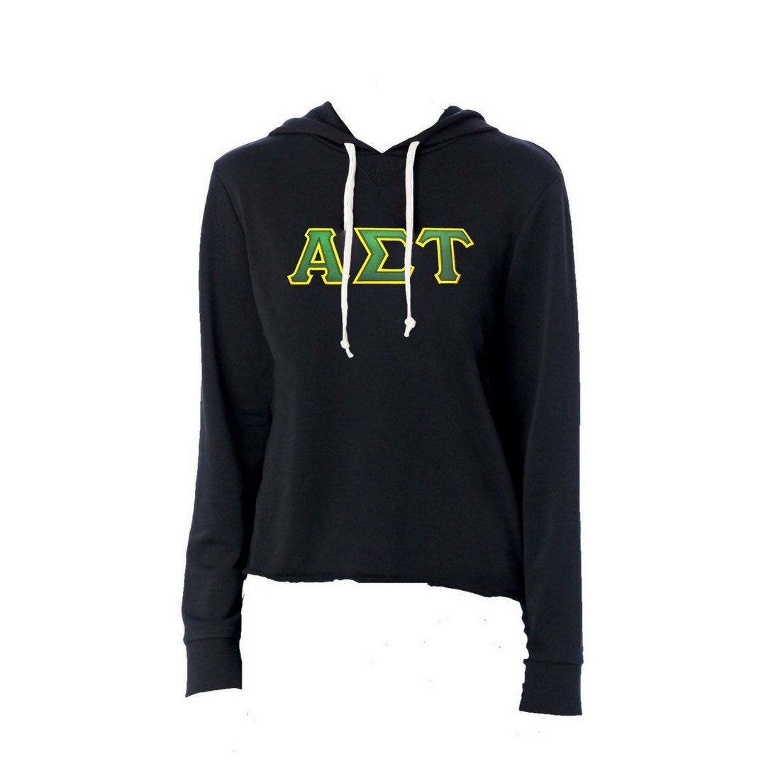 Alpha Sigma Tau sweatshirt with stitched Greek Letters. #AlphaSigmaTau french terry hoodie sweatshirt. Shop #AST Clothing Collection for other coordinating items available only at M&D Sorority Gifts!