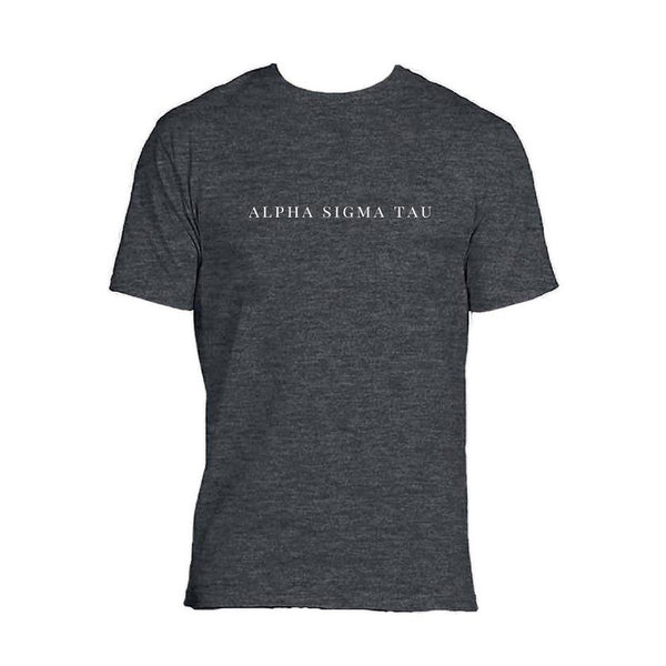 Alpha Sigma Tau Charcoal Grey t-shirt with sorority name across chest in block style lettering.