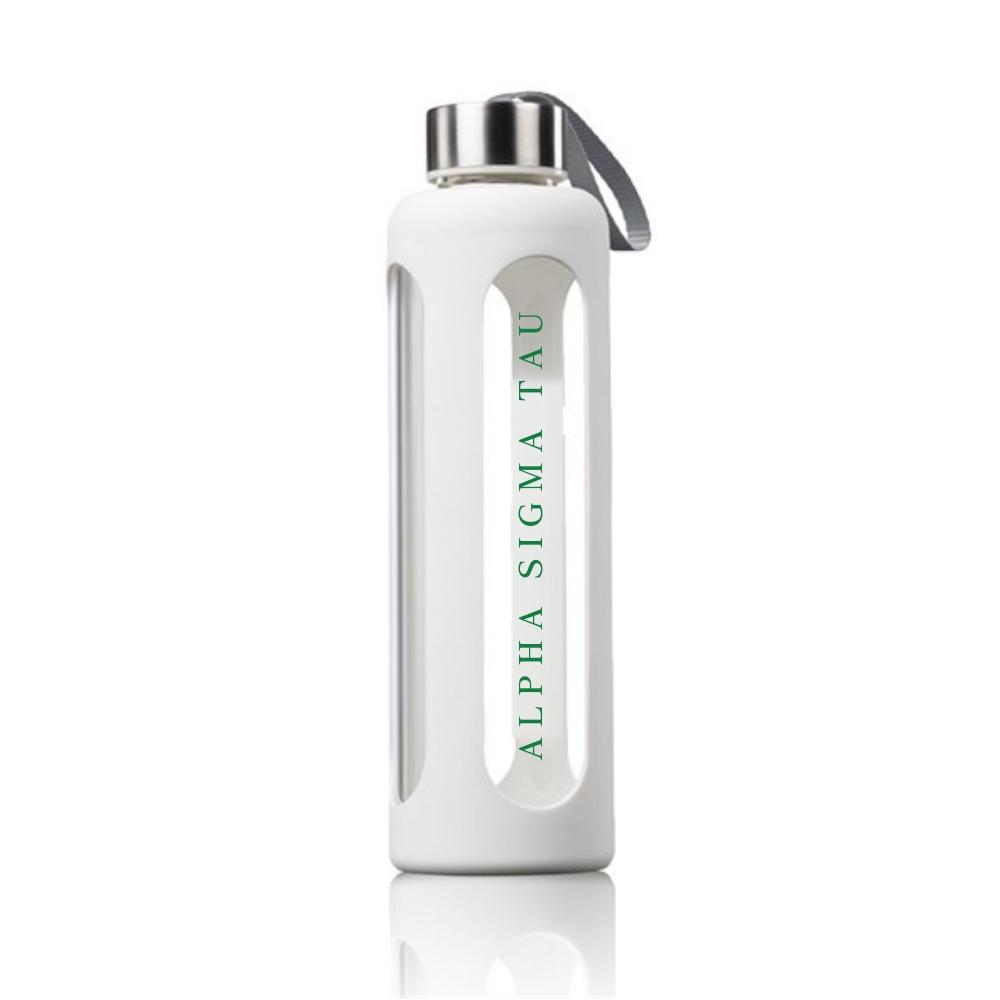 Alpha Sigma Tau Water bottle made of glass and silicone, features sorority name in green.