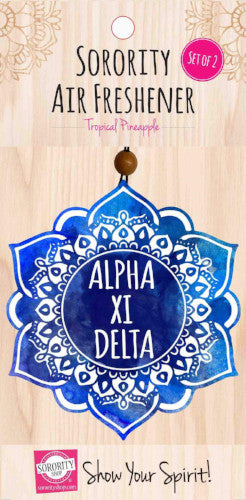 Alpha Xi Delta air freshener, tropical pineapple for your sorority car or dorm room