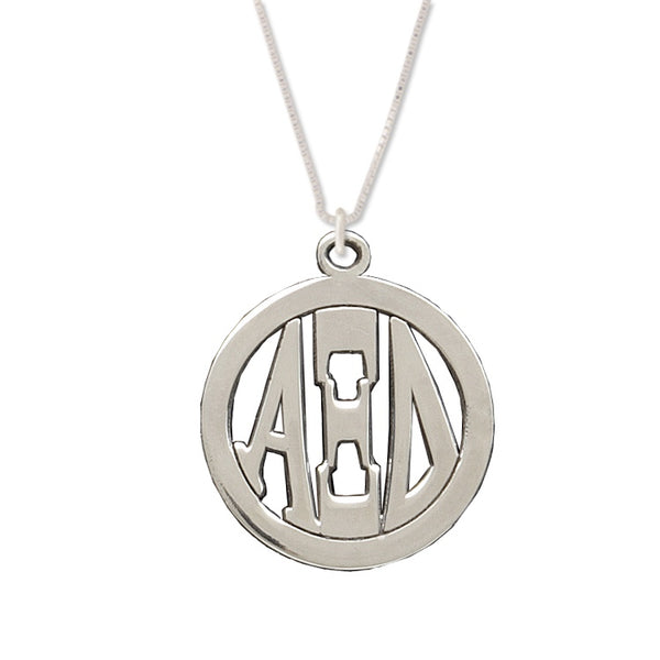 Alpha Xi Delta Charm: Large Greek Monogram in Beautiful Sterling Silver