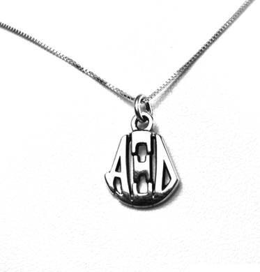 Alpha Xi Delta Charm Sterling Silver Monogram Circle Drop. Chains available.