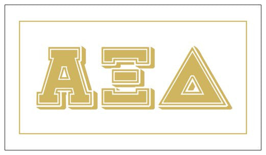 Alpha Xi Delta Gift Card . Metallic Gold