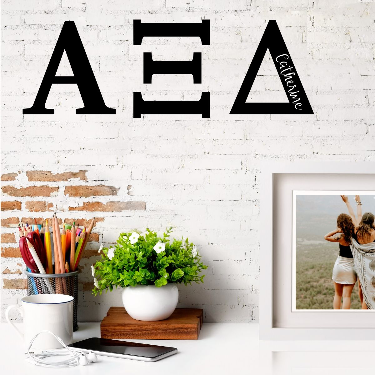 Alpha Xi Delta Greek Letters Ready to Hang I 7 inches I Personalize