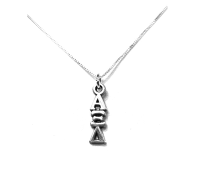Alpha Xi Delta Lavaliers sterling silver. Add a 16 in, 18 in, or 20 in sterling silver box chain. Is it a gift? Let us ship for you in a gift box tied with ribbon and a handwritten gift card.