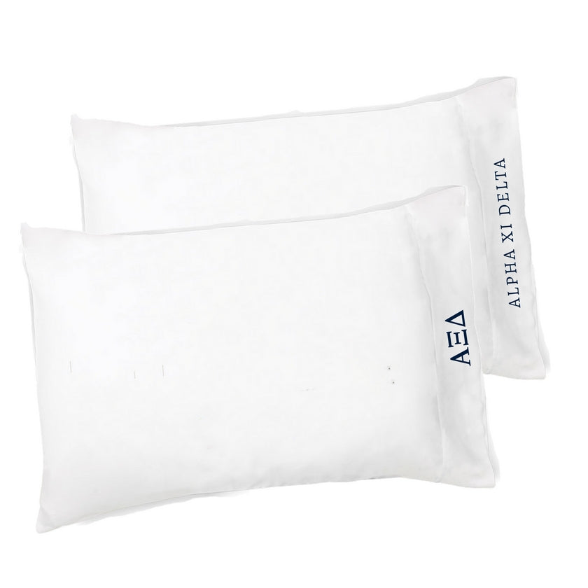 Alpha Xi Delta  pillowcases with Greek Letters & Sorority Name. Buy the set or individual. The perfect sorority gift!