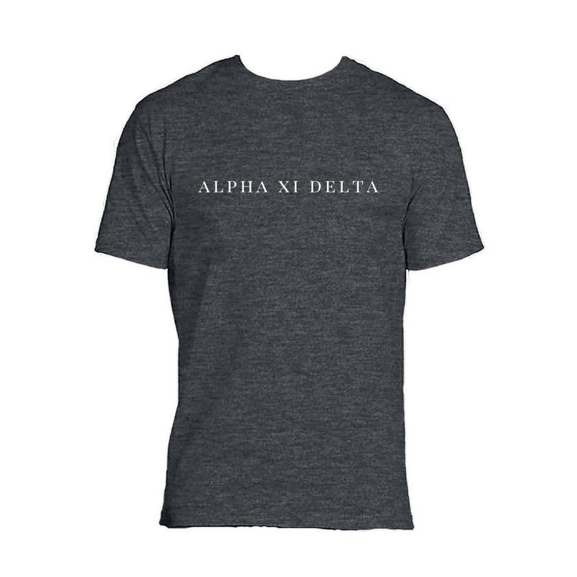 Alpha Xi Delta Charcoal Grey t-shirt with sorority name across chest in block style lettering.