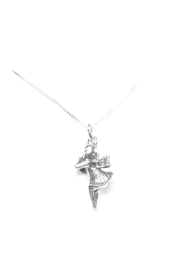 Angel Charm. Sterling Silver. Also available, 16, 18 and 20 inch sterling silver box chains. Is it a gift? Add a gift box tied with ribbon and a handwritten gift card.