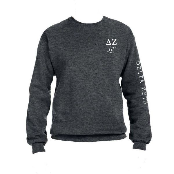 Delta Zeta Little Crew Sweatshirt with Greek Letters and Sorority Name Down Arm