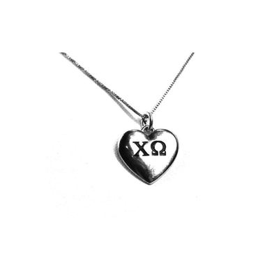 Chi Omega charm in sterling silver for a beautiful sorority necklace. Shop #ChiOmega jewelry at M&D Sorority Gifts.  200+ #CHIO products available. #mdsororitygifts