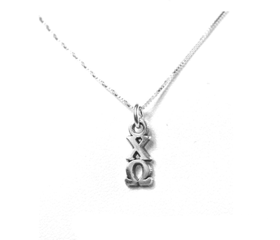 Chi Omega Lavaliers sterling silver. Add a 16 in, 18 in, or 20 in sterling silver box chain. Is it a gift? Let us ship for you in a gift box tied with ribbon and a handwritten gift card. Shop #ChiOmega jewelry at M&D Sorority Gifts.  200+ #CHIO products available. #mdsororitygifts