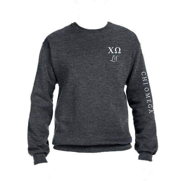 Chi Omega Little Crew Sweatshirt with Greek Letters and Sorority Name Down Arm