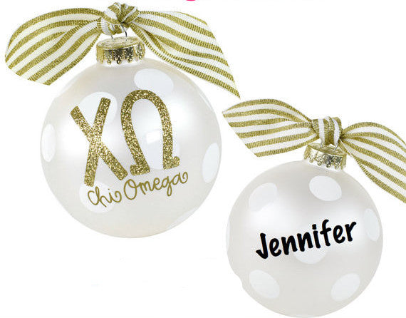 Chi Omega Ornament, collectible gold greek letters