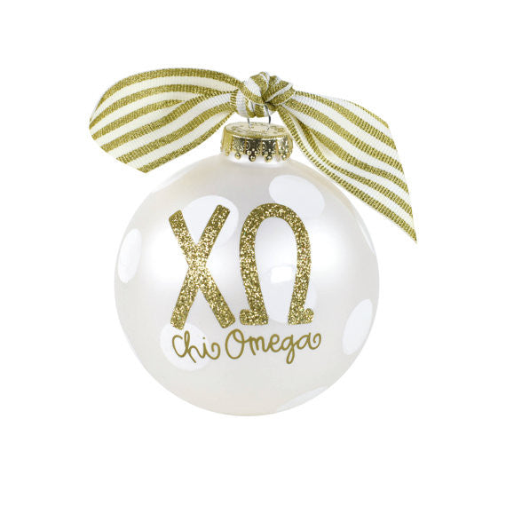 Chi Omega Ornament . Gold Glitter . Optional Personalization