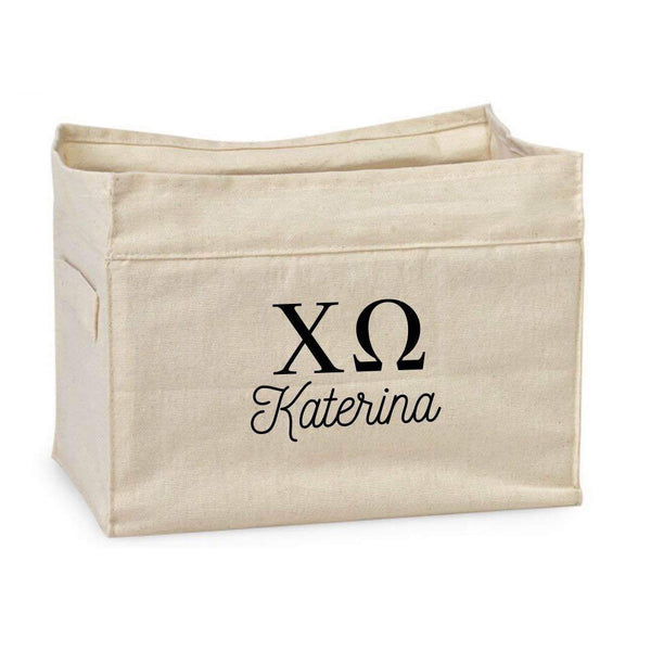 Chi Omega storage tote bin with Greek Letters and handles