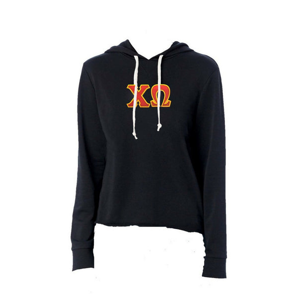 Chi Omega sweatshirt with stitched Greek Letters. #ChiOmega french terry hoodie sweatshirt. Shop #CHIO Clothing Collection for other coordinating items available only at M&D Sorority Gifts! Shop #ChiOmega clothing at M&D Sorority Gifts.  200+ #CHIO products available. #mdsororitygifts