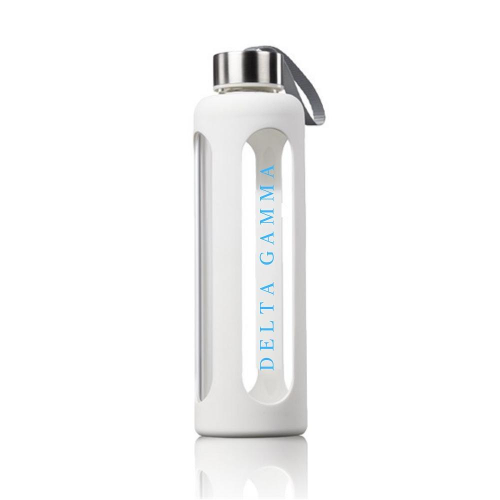 Delta Gamma Water Bottle I Glass & Silicone I Greek Words
