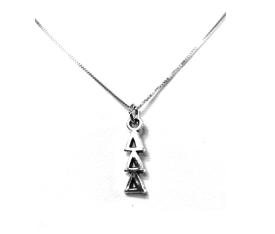 Delta Delta Delta Lavaliers sterling silver. Add a 16 in, 18 in, or 20 in sterling silver box chain. Is it a gift? Let us ship for you in a gift box tied with ribbon and a handwritten gift card.