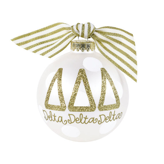 Delta Delta Delta Ornament . Gold Glitter . Optional Personalization